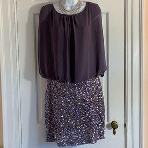 MM Couture Lavender plum sequin cocktail dress L